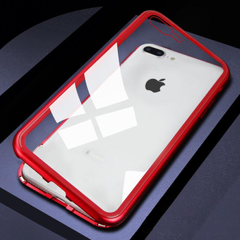 LUPHIE Magneto Case For iPhone 7 8 Plus Magnetic Adsorption Case Metal Bumper Clear Tempered Glass Back Cover For iPhone 8 Shell iPhone XS