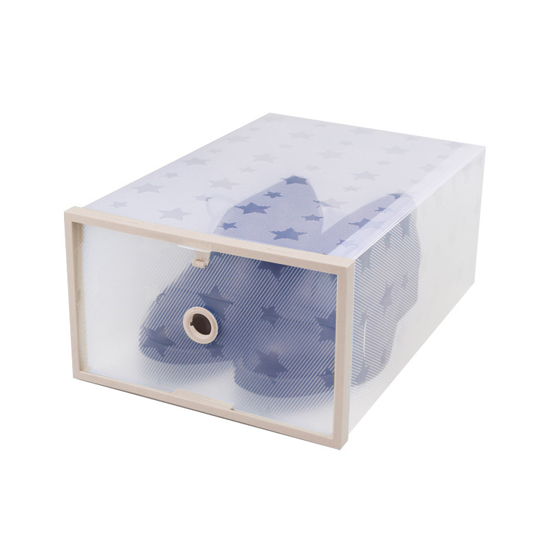 Shoes Storage Box Clear Drawer Transparent Home Organizers Stackable Cover Case