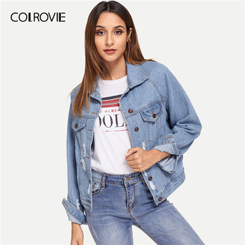 COLROVIE Blue Single Breasted Collar Pocket Ripped Jeans Jacket Denim Coat Women 2019 Spring Fashion Ladies Jackets Outerwear