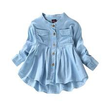 ced902e91 Moda Jean niños manga larga chica Denim blusas ropa otoño niñas jeans  camisas