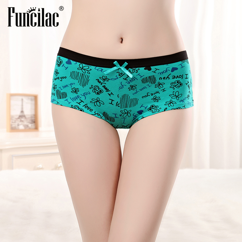 FUNCILAC Sexy   Panties   for Women Cotton Boyshort Female Underwear Lingerie Low Waist Lady Short pants Letter Print Boxer 1 piece