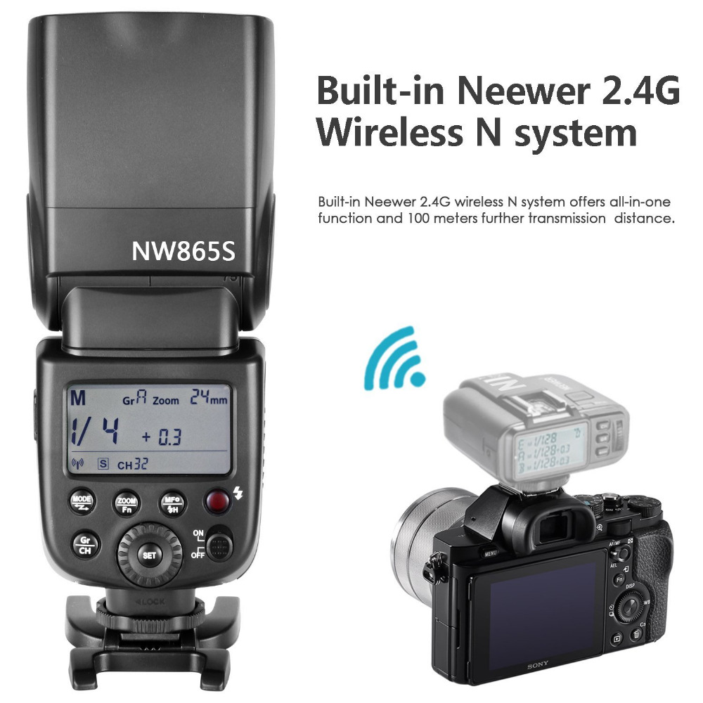 Neewer GN60 2.4G Manual HSS Master Slave Flash Speedlite for Sony A7 A7S A7SII A7R A7RII A7II A6000 A6300 A6500 A77II A58 A99 pixel x800s standard gn60 hss ttl flash speedlite 2pcs king pro 2 4g flash trigger transceivers for sony a7 a7s a7r a7rii
