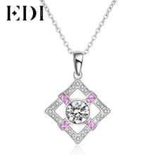 EDI Genuine 1.2ct Moissanite Diamond 14k 585 White Gold Natural Pink Sapphire Pendant For Women Luxury Chain Necklace Jewelry
