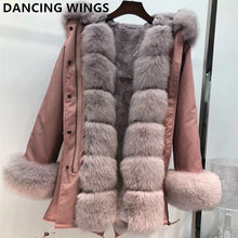 Women real fur parka winter warm natural large fox fur coat with real rex rabbit fur liner coat winter jacket(China)