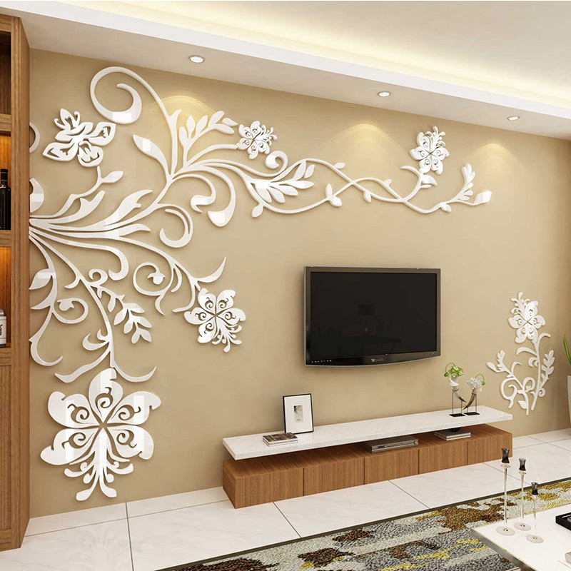 Nordic acrylic 3D stereo wall sticker home decoration INS flowers sofa TV Background wall living room Creative sticker