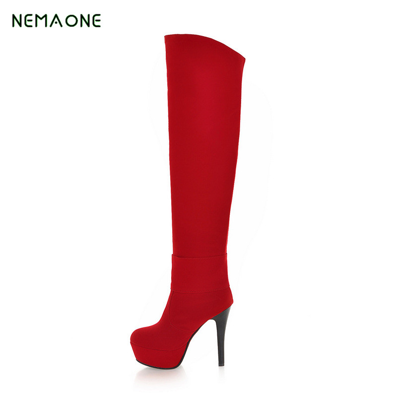 NEMAONE Top Faux Suede Women Thigh High Boots Stretch Slim Sexy Fashion Over the Knee Boots Female Shoes High Heels