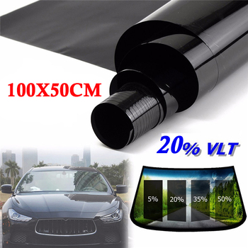 Heat Protector Tint Film Sticker Roll 50*100cm Home Office Glass Window VLT 20% Anti UV Privacy Uncut Sunshade Black Color image