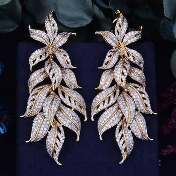 GODKI 80mm Luxury Exclusive Leaf Leaves Cubic Zirconia African Wedding Women Dress Earring Fashion Jewelry - DISCOUNT ITEM  10% OFF All Category