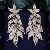 GODKI 80mm Luxury Exclusive Leaf Leaves Cubic Zirconia African Wedding Women Dress Earring Fashion Jewelry