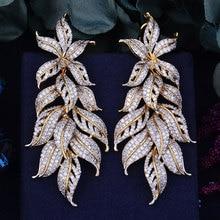 Godki 80Mm Luxe Exclusieve Blad Bladeren Zirconia Afrikaanse Bruiloft Vrouwen Jurk Oorbel Mode sieraden