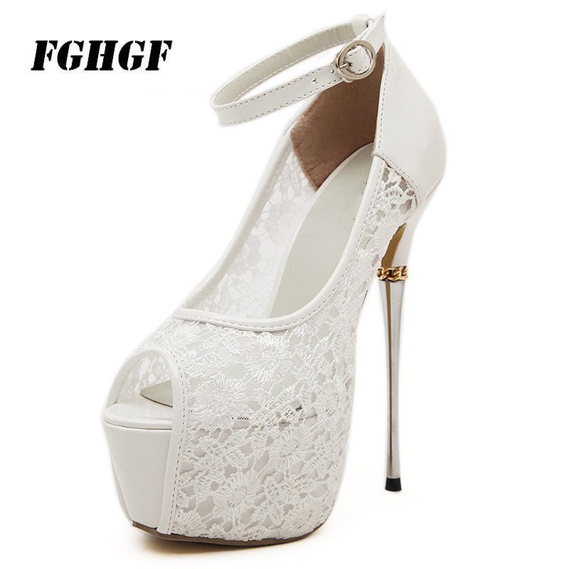 Lace Pattern Women S High Heels Bare Toes Explicit Temperament Fine Tracking Black White Spring Autumn