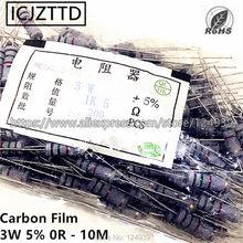 200 pçs/saco 3 3 w 5% W Filme De Carbono Resistor 5% 220 K 240 K 270 K 300 K 330 K 360 K 390 K 430 K 470 K 510 K 560 K 620 K 680 K 750 K 820 K 910 K 1 M