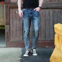 Bierelinnt 2017 New Arrival Elastic Cotton Straight Slim Fit Splashed Jeans Men,Casual Denim Long Pants Men Jeans,158029D