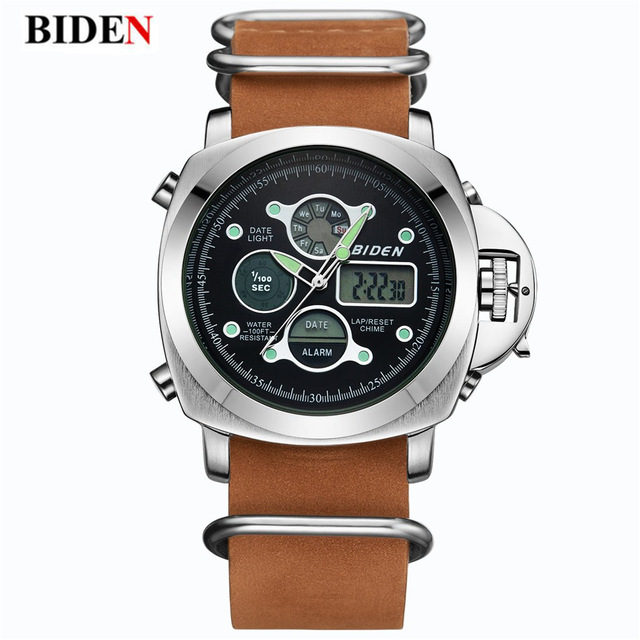 BIDEN Luxury Brand Men s Sports font b Watch b font LED Dual Display Leather font