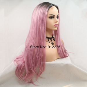 Image 3 - Sylvia U Part Pink Hair Long Natural Straight Synthetic Lace Front Wig Dark Root Heat Resistant Fiber Cosplay Wig Middle Part