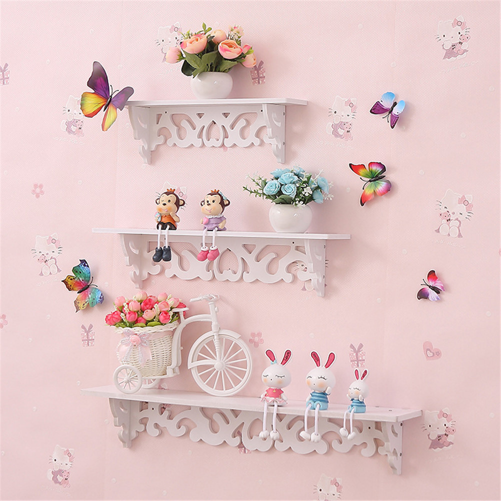 White Wooden Wall Shelf Display Hanging Rack Storage Goods Holder Home Decor 1Set Small +medium+large Size+accessories