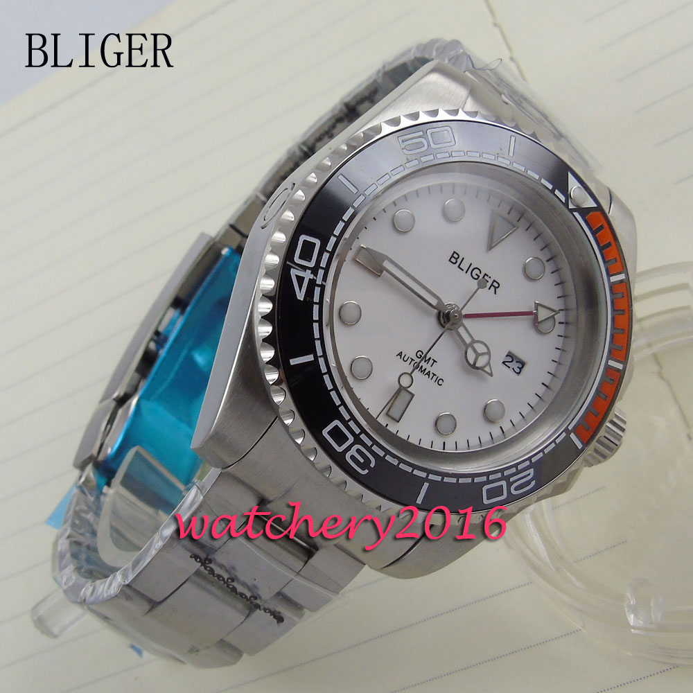 new 44mm Bliger white dial black & red ceramic bezel date adjust GMT Automatic movement Men's business Mechanical Wristwatches 44mm bliger gray dial blue ceramic bezel sapphire crystal automatic movement men s mechanical wristwatches