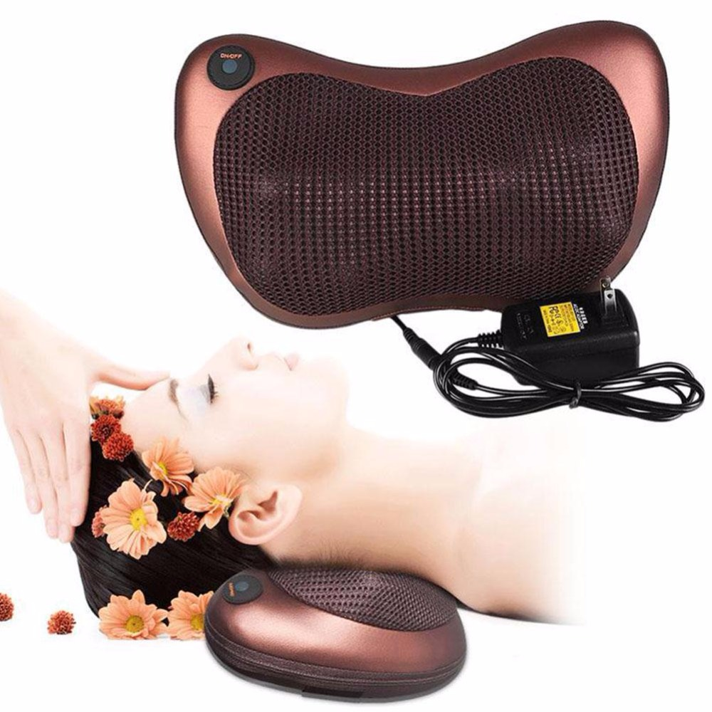 8 Rollers Health Care Heat Massage Electric Pillow Deep Kneading Massager Relax Neck Shoulder Pain Back EU / US Plug