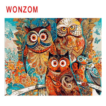 WONZOM Bird Diy Painting By Numbers Abstract Animal Oil Painting Owl Cuadros Decoracion Acrylic Paint On Canvas Modern Art Gift