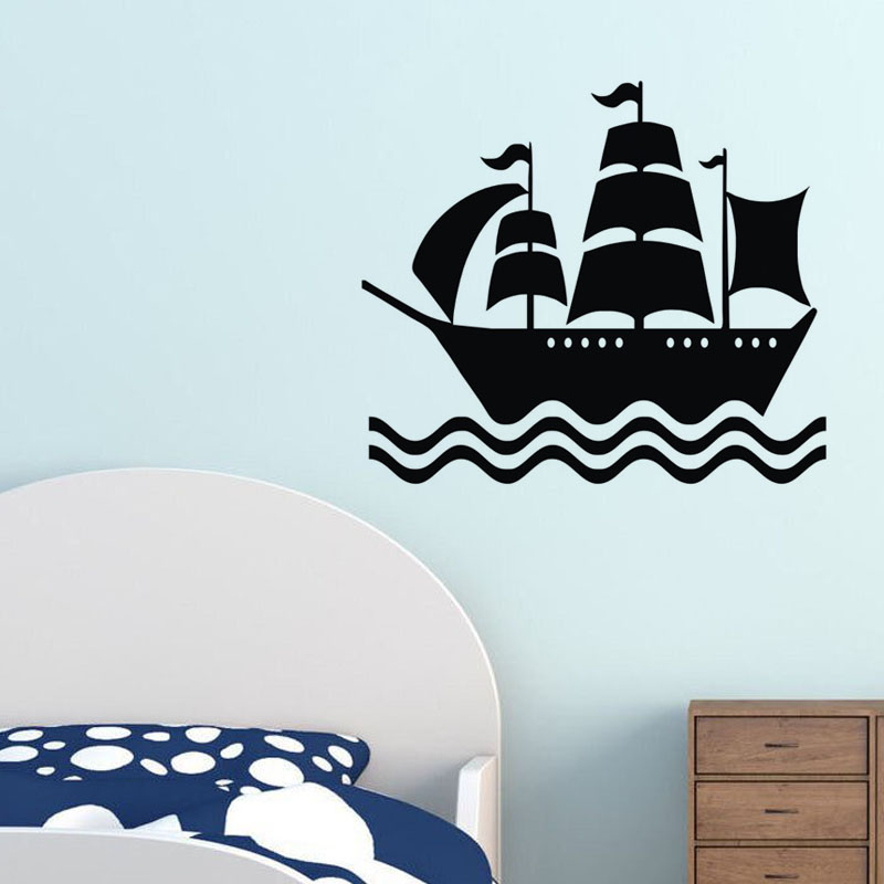 EHOME Pirate Ship Wall Stickers Kids Bedroom Wall Decor Vinyl Art Wall Decals Removable Creative Sticker for Nursery
