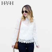 HYH HAOYIHUI 2018 Women Sexy Lace Patchwork Shirt Solid Hollow Out O Neck Lantern Sleeve Female Tops Black/White Lady T shirt
