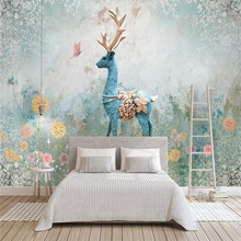 Nordic elk decorative painting three-dimensional abstract background wallpaper mural custom photo