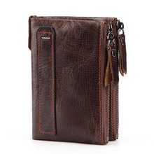 Genuine Leather Short Coin Purse Luxury Brand Men Wallet Small Zipper  Slim Wallets Clutch Male for men
