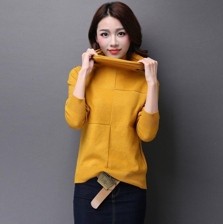 Camisa básica de las mujeres suéter de cuello alto del montón suéter femenino su