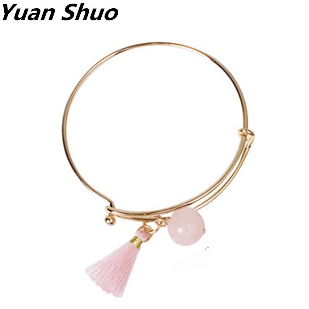 cc5bc36d0c0 Moda simples série Natural original Shi Zheng fabricante pingente de borla  ouro rosa mulheres pulseira Atacado frete grátis