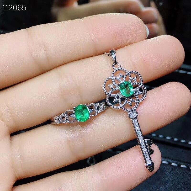 Alte Schöne Aushöhlung Key S925 silber natürliche grüne smaragd edelstein ring Anhänger natürliche edelstein schmuck set frau partei geschenk - 5