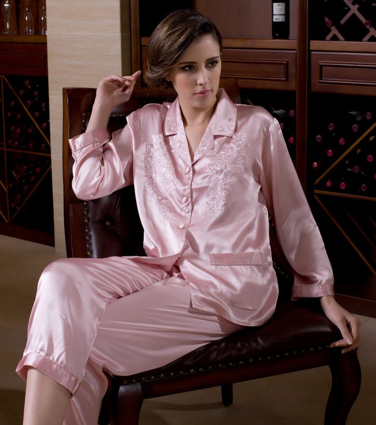 100 Pure Silk Women s Embroidery Pajama Set Sleepwear Nightgown M L XL YM006