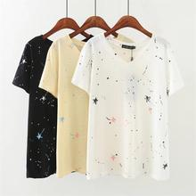 Más tamaño 5XL Graffiti imprimir algodón Mujer verano Camisetas 2018 casual  v-cuello de las cafeea13866
