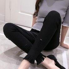 plus size legging women summer style 2016 bermuda feminina hole outside black white tassel leggings pencil pants female A0909