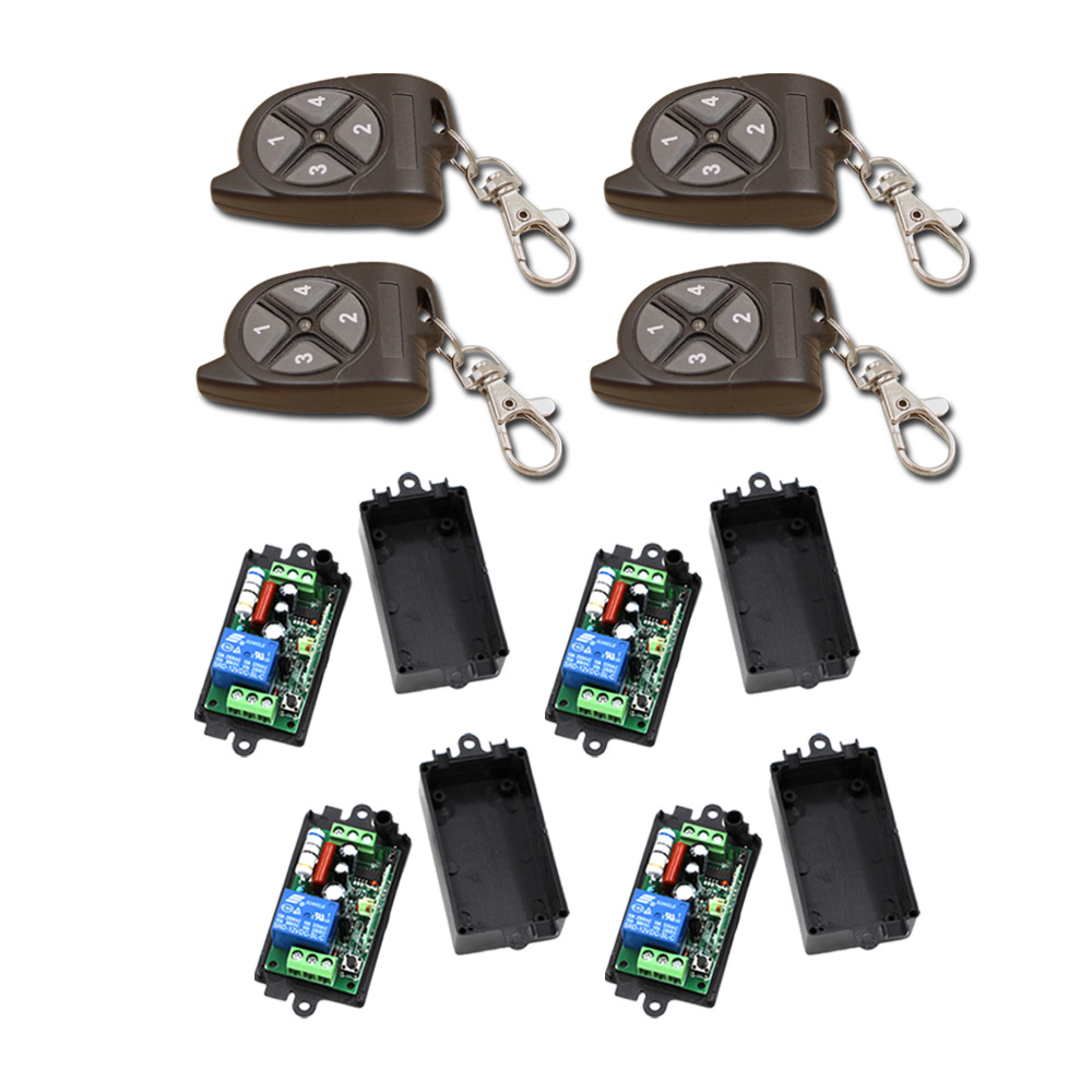 New AC110V 220V 1CH RF Wireless Remote Control Switch System 4Transmitter+4Receiver with Black Case Free Shipping