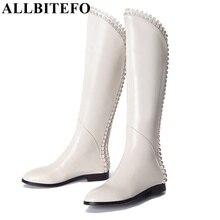 ALLBITEFO d'hiver 3 couleurs sur le genou bottes, appliques décoration en cuir véritable + PU cuisse haute bottes, size34-39, prix usine
