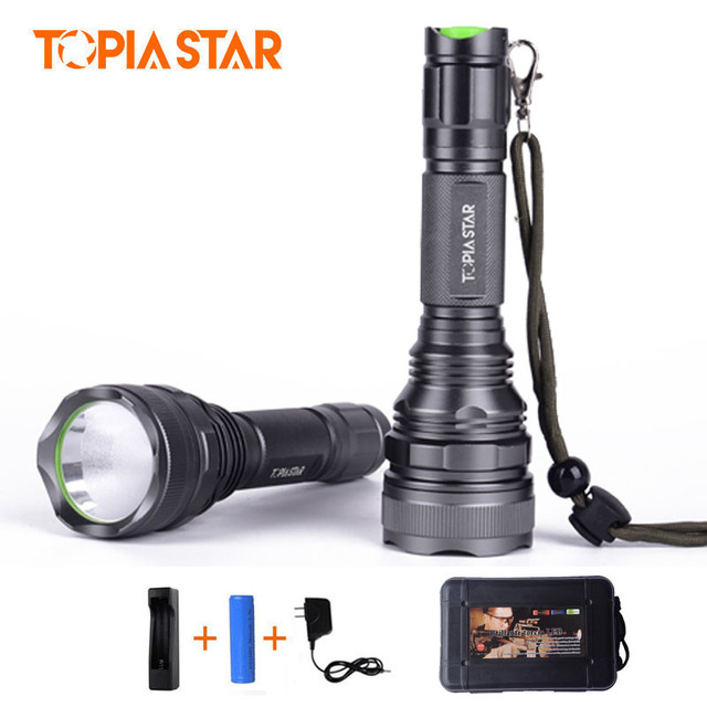 TOPIA STAR Portable 2000 lumen Waterproof Flashlight Powerful Rechargeable Police Tactical LED Flashlights Torch Light