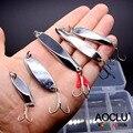 AOCLU Super calidad Metal Jig duro cebo Stik pesca señuelos Bass Fresh Salt agua cuchara cebo señuelos de Metal