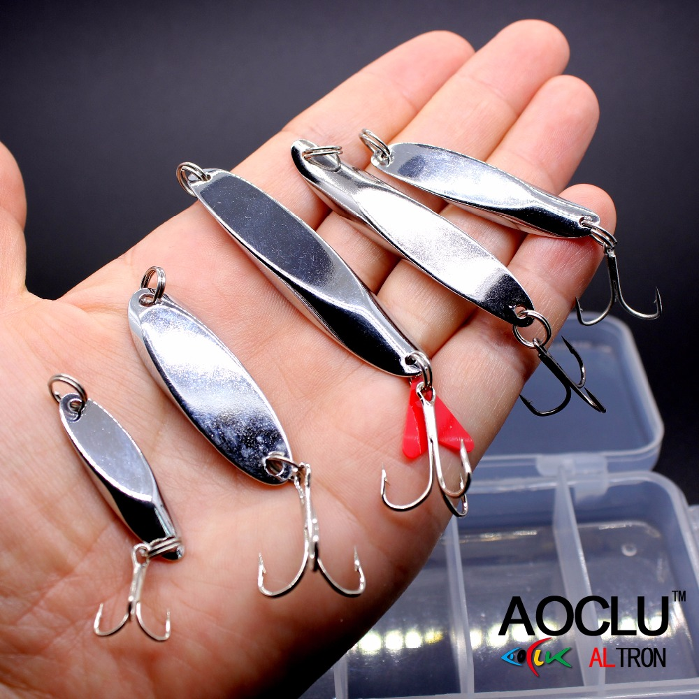 AOCLU Super Quality Metal Jig Hard Bait Stik Fiske lokker Bass Fresh Salt vann Spoon Bait Fish Metal Lures