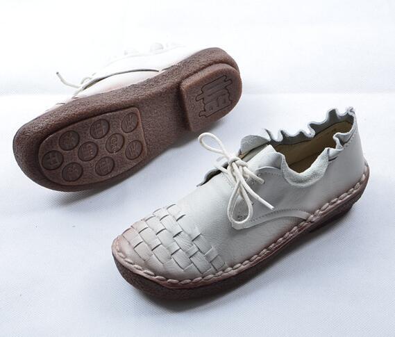 HUIFENGAZURRCS-Pure handmade shoes,the retro art mori girl Flats shoes,fashion casual shoes,Vintage sweet leather shoes ,3colors