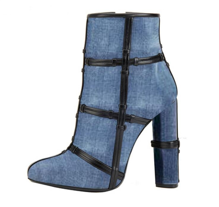 Blue Denim Mixed Colors Ankle Boots Round toe Black Nets Knot Decoration Women Catwalk Gladiator Boots Chunkly Heels Bootie все цены
