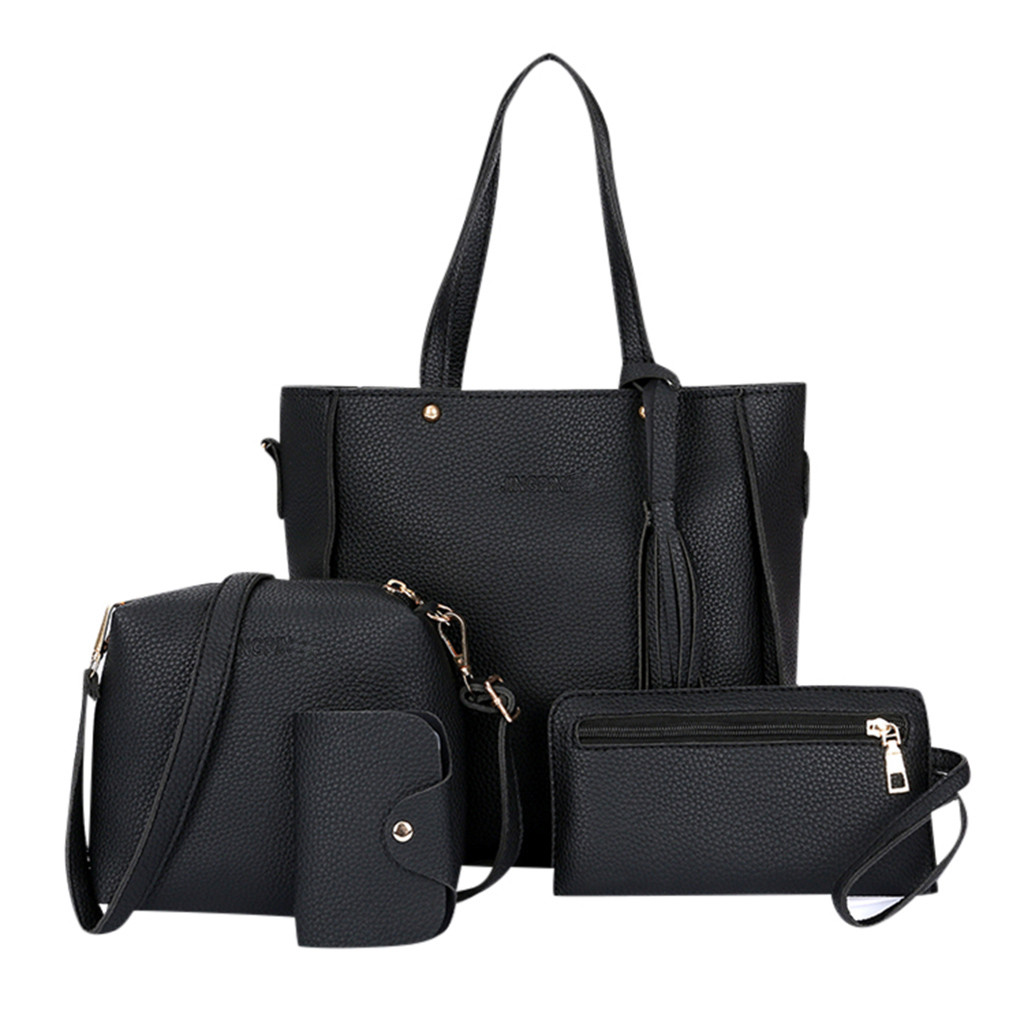 4pcs Woman Bag Set 2019 New Fashion Female Purse And Handbag Four-Piece Shoulder Bag Tote Messenger Purse Bag