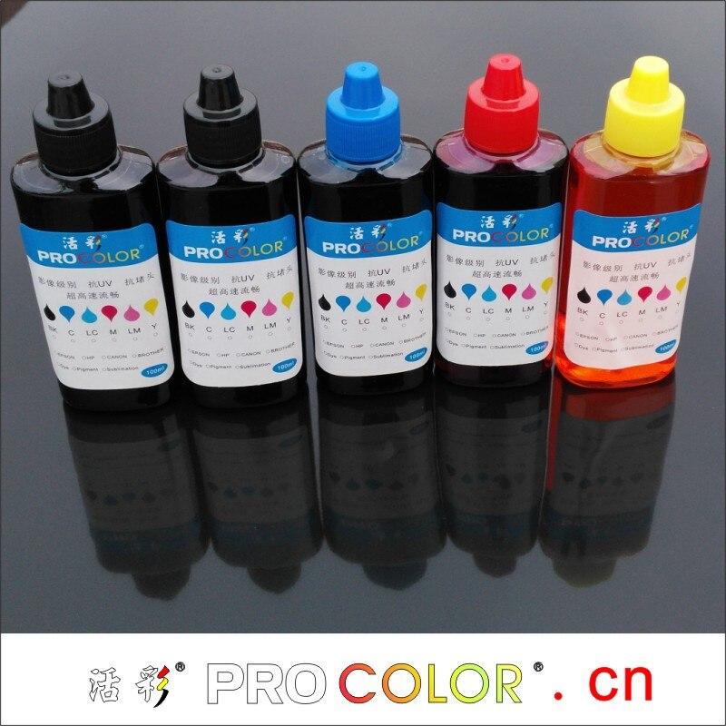 PROCOLOR GI-490 BK C M Y 100ml bottle ink refill kit for PIXMA G1400 G2400 G 1400 2400 3400 ink tank inkjet printers