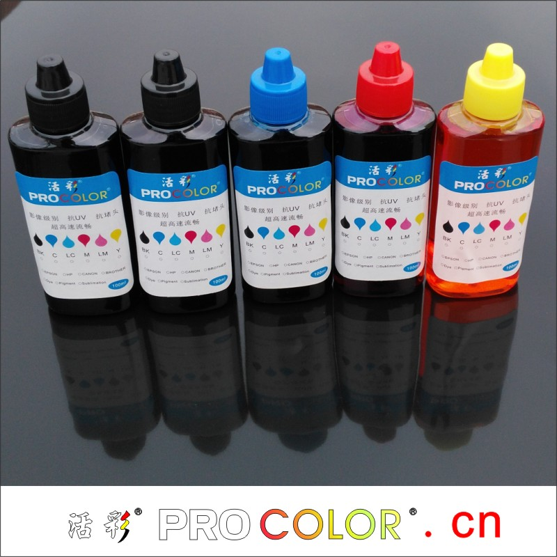 PROCOLOR GI-490 BK C M Y 100ml bottle ink refill kit for canon PIXMA G1400 G2400 G3400 G 1400 2400 3400 ink tank inkjet printers free shipping ciss ink kit with arc chip for pg150bk cli151 bk c m y gy us pixma mg6310 pirnter ink kits