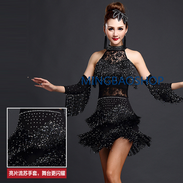 Latin Dance Competition costumes Ladies Professional Dresses Ballroom Womens adult salsa sequin fringe dancing clothes 2019 in Latin from Novelty Special Use