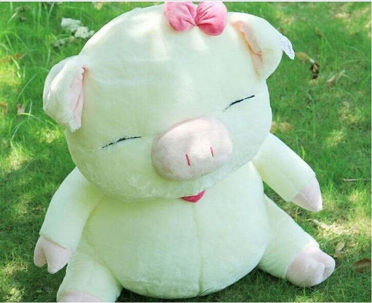 Belle peluche gros cochon poupée mignon sourire cochon jouet sanshun cochon poupée cadeau blanc et rose environ 60 cm 0617