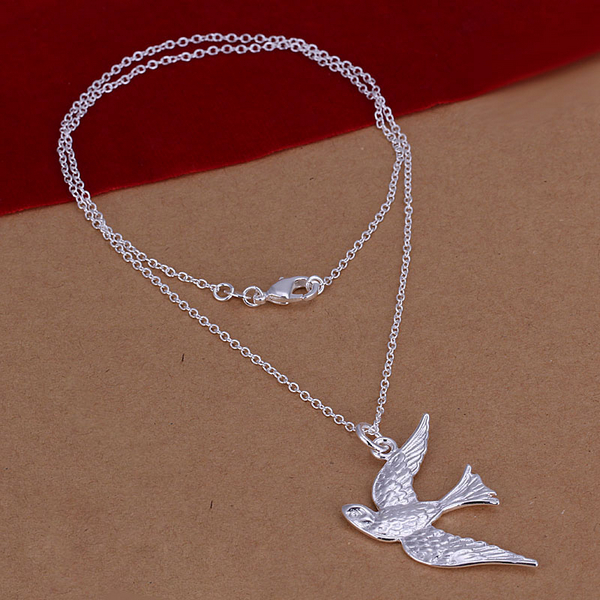 wholesale price retail 925 sterling silver jewelry silver bird pendant rope chain necklace statement fine fashion pendants CN151