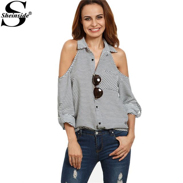 Sheinside Listrado Preto e Branco Botão Baixo Camisa Lapela Mulheres Frio Ombro Blusa de Manga Longa com Bolso