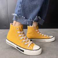 Male Casual Sneakers High Top Casual Canvas Shoes For Men Rubber Sole Walking Men Shoes Black Yellow Mens Lace Up Canvas Shoes