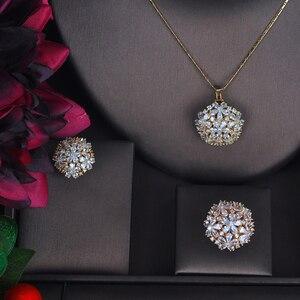 Image 2 - HIBRIDE أنيقة تسلق عالية الجودة زركون طقم مجوهرات للنساء لون الذهب خاتم/حلق/قلادة طقم مجوهرات هدية N 511