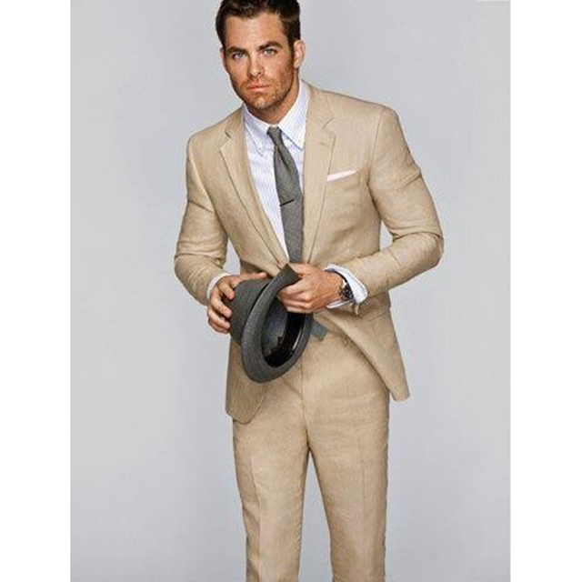 Khaki Mens Suits For Beach Wedding Groom Tuxedos terno men suit Prom ...